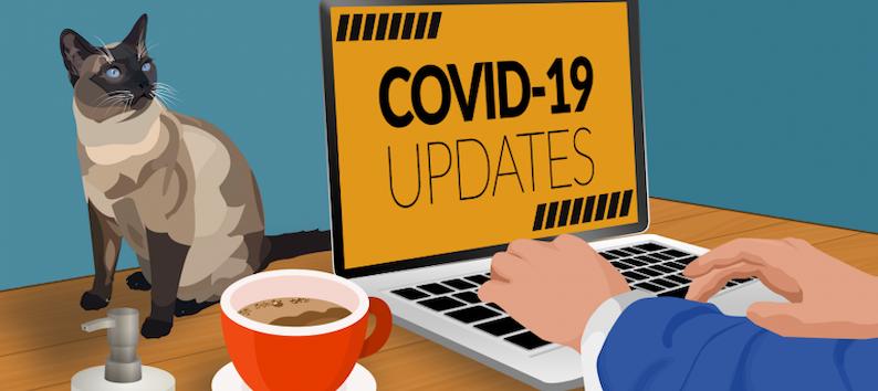 Ordenador Gato y Café Covid-19