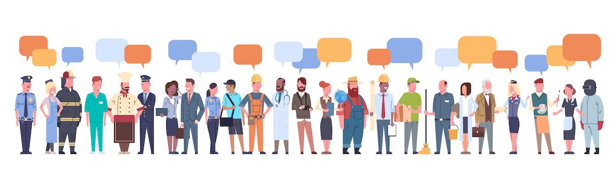 Personas de diferentes profesiones se comunican