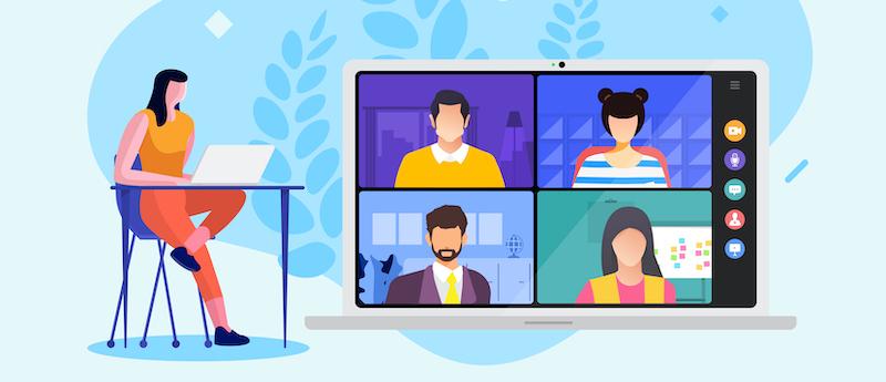 Personas se comunican online en una webinar
