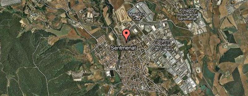 Visión satélite de la población de Sentmenat