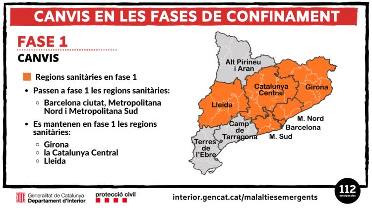 Mapa de regions sanitàries en Fase 1