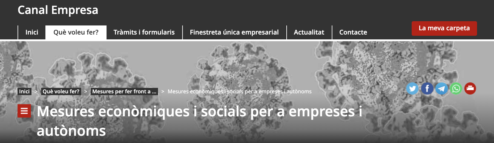 Head del Canal Empresa al web de la Generalitat de Catalunya