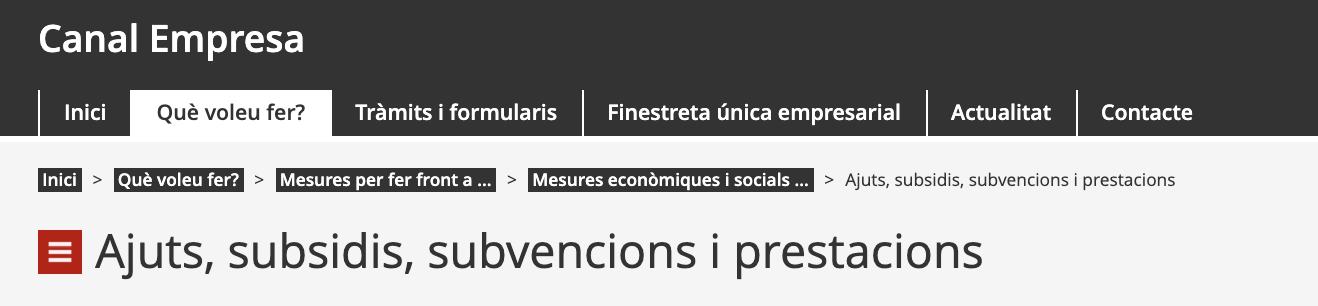 Head dels Ajuts, subsidis, subvencions i prestacions al Canal Empresa de la Generalitat de Catalunya